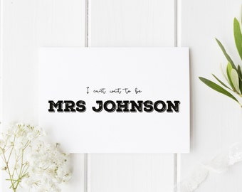 Rustic Groom Card, I Can't Wait To Be Mrs, Personalised Groom Wedding Card, Can't Wait To Marry You, Groom Card, Wedding Day Card, Mrs To Be