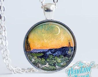 Van Gogh Crescent Moon Fine Art Jewelry Pendant