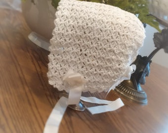 Vintage Dutch Bonnet, Handmade White Crochet Babies Bonnet / Hat , 12-18 Months- ready to ship / Can make to order in any colour and size.