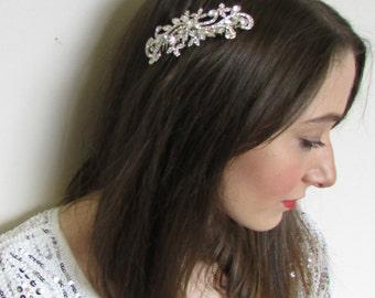Silver Crystal Leaves Hair Comb Bridal Vintage Diamante Art Deco 1920s 1930s Q75