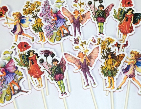 Cupcake Toppers - Flower Fairy, Food Picks, Birthday Party Decorations, Flower Fairy Party, Flower Fairy Birthday Party, Baby Shower Decor