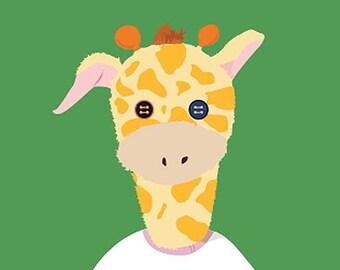 Hello Giraffe, Happy,Green & T-shirt!
