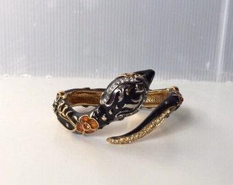 Vintage Roberto Cavalli Snake Enamelled Brass and Rhinestone Bracelet