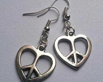 Peace Heart Earrings , Silver Earrings , Silver Peace Earrings , Silver Peace Earrings , CND Earrings , Ban The Bomb , Hippie Jewelry , Gift