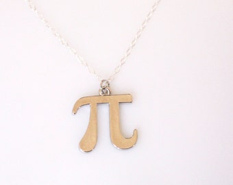 Pi Necklace Silver, Math Jewelry, Silver Pi Pendant Necklace, 3.14 Symbol, Necklace for Nerds, Gift for Math Teachers