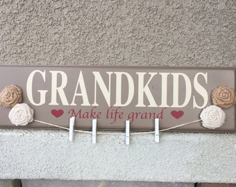 Grandkids make life grand | Wood sign | Rustic | Handmade