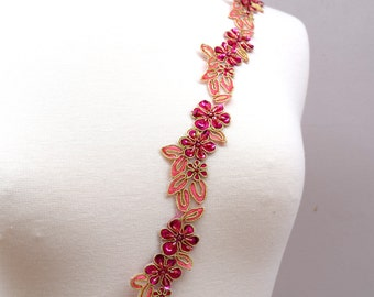Tri Colored Magenta, Pink and Gold Flower Lace  Trim With Gold Wiring and Multiple Colored Beading. Uneven edging