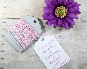 Pink Baby Shower Tags 20pc - Thank You Gift Tags - Baby Shower Favor Tags - Boy's Baby Shower - Baby Girl - Mom to Be and her Sweet Pea