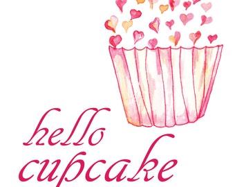 Hello Cupcake, Watercolor Print, Watercolor Printable, Cupcake Printable, Cupcake Art, Cupcake Decor, Cupcake Print, Pink Cupcake Art, Pink