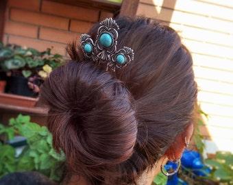 Turquoise Hair Fork - Boho Hair - Hair Stick - Gypsy Jewelry