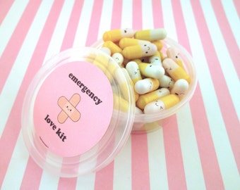 Emergency Love Pill Kit Yellow Wish Pill Capsule with a Message Inside, Write Your Own Message