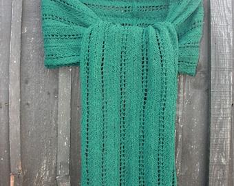 SALE - Hand Knitted in Scotland Lace Scarf Wrap Shawl in Luxury Scottish Shetland Wool in Bottle Green Hand Made Knitwear Knit KN015