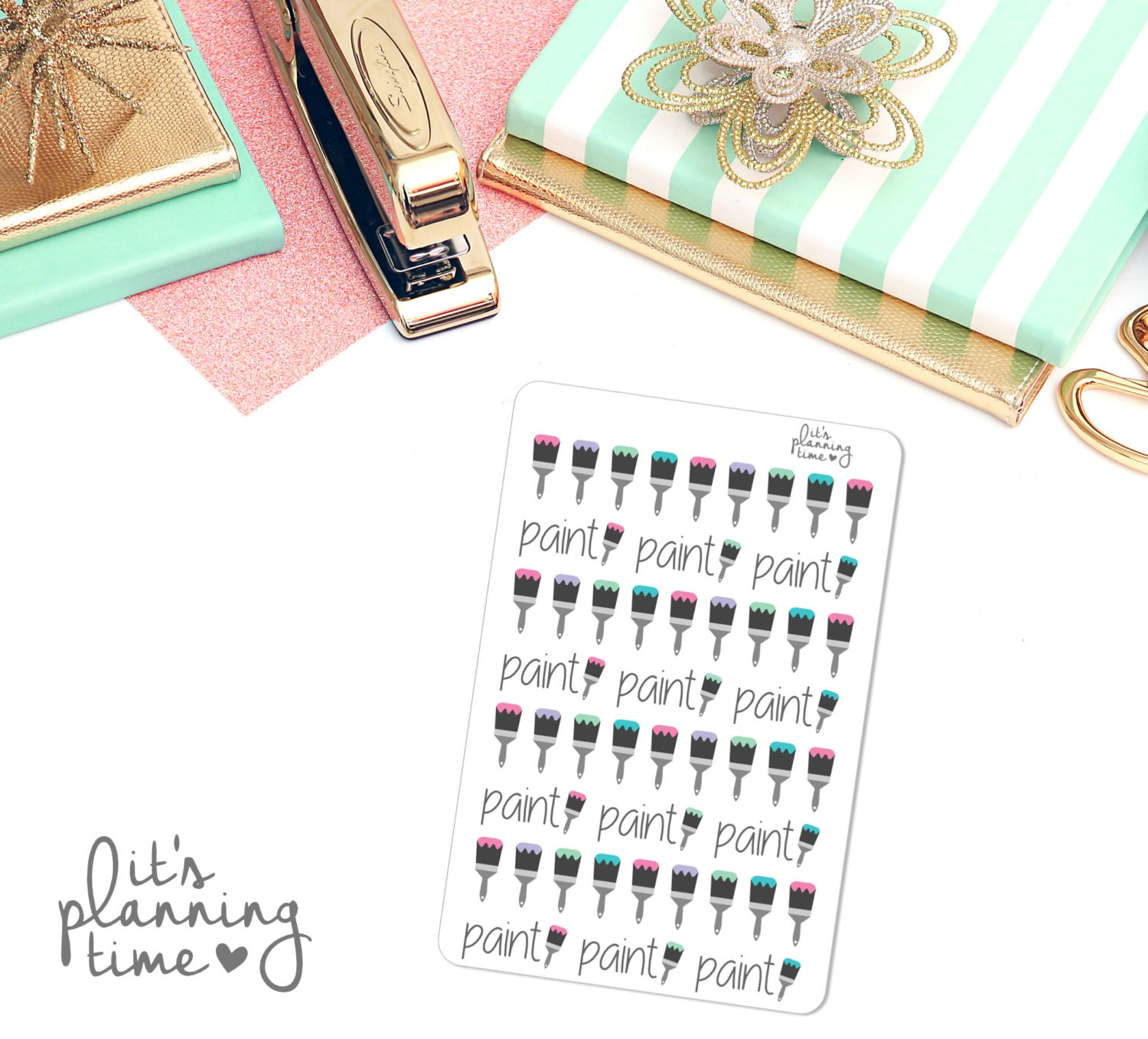 Paint brush planner stickers 48 count from for Paint planner
