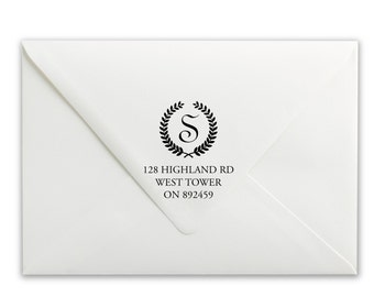Custom Self-Inking Stamp - Personalized Stamp - Name Stamp - Address Stamp - Wreath Iniital Address Stamp