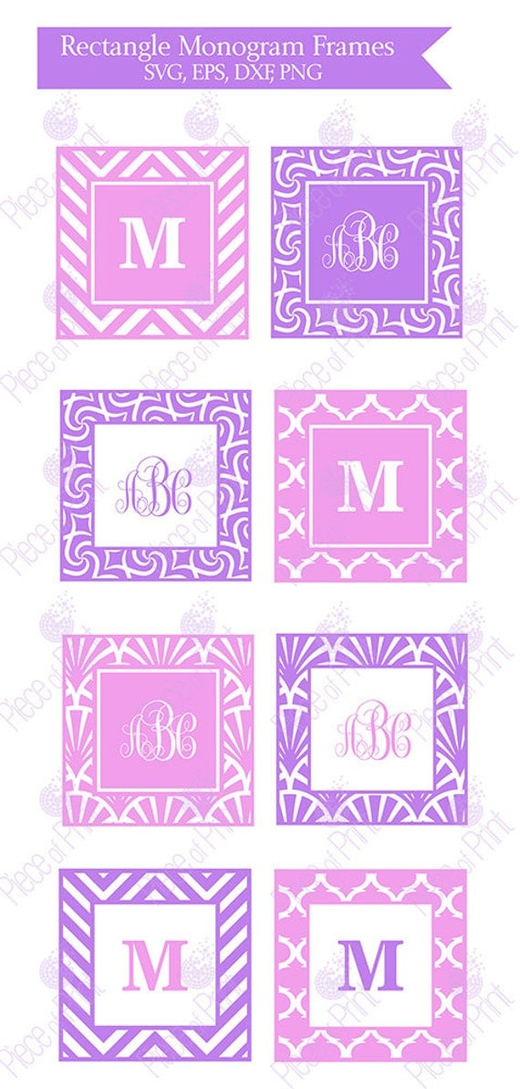 Square Monogram Frames Svg Eps Dxf Png Cut Files By