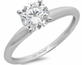 Couples Promise Ring, Promise Couples Ring, Promise Ring For Couples, 3 ct Round Solitaire Prong Set Engagement Wedding Ring 14k White Gold