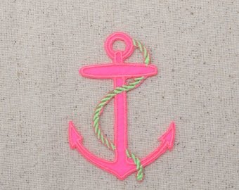 Large - Nautical - Neon Pink Anchor - Lime Green Rope - Iron on Applique - Embroidered Patch - 696500-C