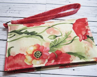 Poppies Smartphone Wristlet, iPhone Wristlet Wallet, Cell Phone Holder, Phone Wallet, Fabric Wristlet Wallet, Gift for Her
