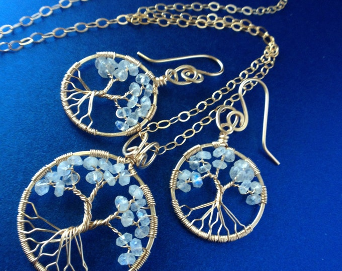 Gold Tree-Of-Life Rainbow Moonstone Statement Necklace Drop Earrings June Birthstone 3rd Anniversary Gemini Cancer Chakra Healing Crystal