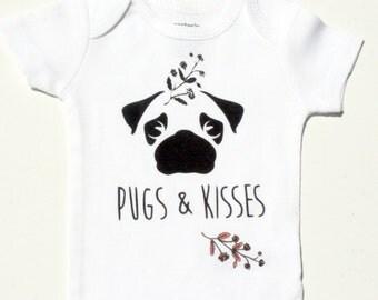 Pug Baby Bodysuit, Dog Shirt, Cute Dog One Piece, Pug Love