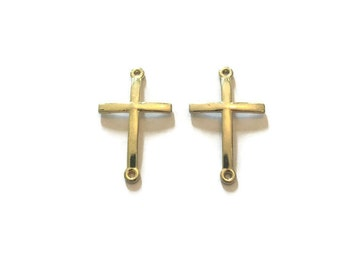 Cross Connector Charms - Cross Charms - Gold Cross Charms - Gold Charms - Connector Charms - Jewelry Supplies