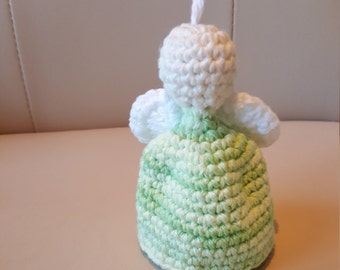 Angel Ornament - green, white wings