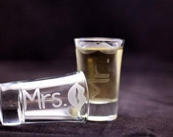 Lips and Mustache Shot Glass, Wedding Shot Glass, Wedding Toast Glass, Etched Mr and Mrs Shot Glass, Shot Glass, Bride and Groom Shot Glass