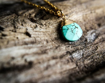 """SALE! 16k Gold Plated Wire wrapped turquoise teardrop Pendant necklace 20"""""""