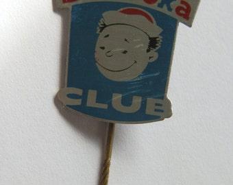 1960's BAZOOKA CLUB Bubble Gum Metal Advertising Blue, Red & Silver Stick Pin Badge / Lapel Pin