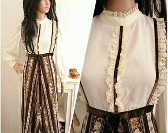 Vintage 70s Cream Lace Floral Boho Victorian Cotton Prairie Maxi Dress / UK 10 12 / EU 38 40 / US 6 8