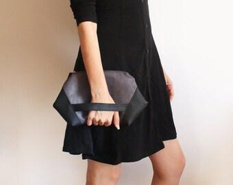 PARIS Clutch, Modern zipper clutch -  Modern clutch / Gray evening bag - Vegan gray clutch bag / Faux suede clutch