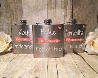 Bridesmaid Flask, 6 ounce - Stainless Steel Personalized Flask - Wedding Flask - Wedding Party Favors