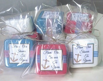 36 Nautical Baby Shower Favors - Anchor Baby Shower Decorations - Baby Boy - Handmade Soap Favors