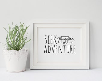 Seek Adventure Print, Black and White, Typography, Typographic Print, Dorm Decor, Dorm Art, Apartment Decor
