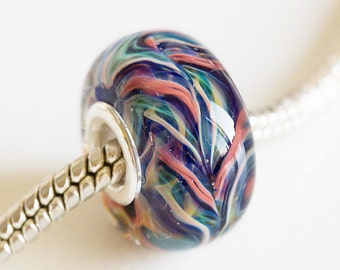 Artisan Lampwork glass Charm bead. Silver cored bead. Large hole lampwork bead, Fits Pandora, European Charm Beads Glass Handmade.