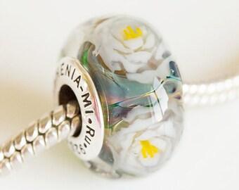 Lampwork glass Charm beads Silver core bead. White Rose bead lampwork, Fits Pandora. European Bracelet beads. Handmade lampwork flower beads