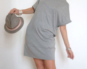 Long T-Shirt - Large T-Shirt - Long Top - Large Top - Short Dress - Loose Fit Shirt - Gray Top - Short Sleeve Clothing - Cover Up Dress