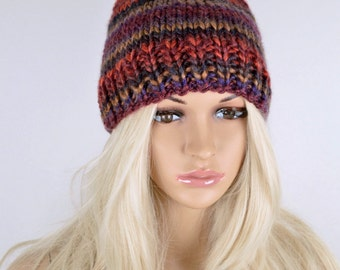 Knit Hat, Slouchy Hat, Winter Hat, Beanie Hat, Pom Pom Hat, Colorful Hat, Fall Hat, Slouchy Beanie Hat