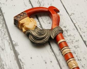 Big wooden walking stick,  KING wood walking cane, man handle carved cane, king cane, wooden carved walking stick, walking stick cane