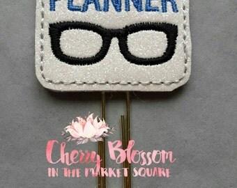 Royal Blue Planner Nerd Geek Glasses Paper Clip