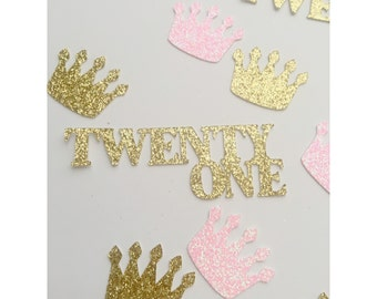 Deluxe Pink and Gold Birthday Crown confetti, gold and pink confetti, glitter crown confetti, party decorations, 1st birthday, 21st brithday