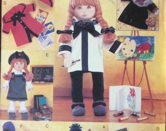"""Vogue 9442 - Very Easy Costume Collection for 18"""" Dolls - Madeline, Anne of Green Gables, Artist, Athlete, Country Girl"""