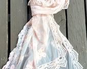 blush peach vintage lace scarf. vintage lace shawl. romantic lace shawl. vintage lace scarf.