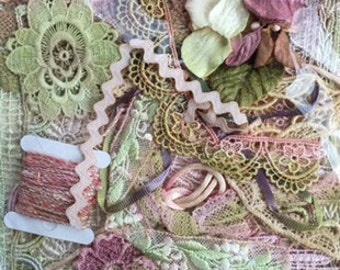 embellish pack. trims and treasures.  pink & green trims and treasures collection. craft collection.