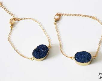 Blue Geode Druzy Bracelet Gold