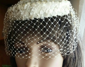 1930s Vintage Wedding Prom Pill Box Hat Headwear Millinery