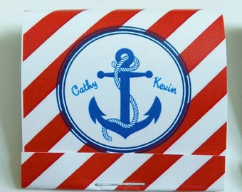 Anchor Wedding Mintbooks-Anchor Nautical Style Stripes-Personalized Mint Matchbooks with Lifesavers Mints-pack of 24-personalized