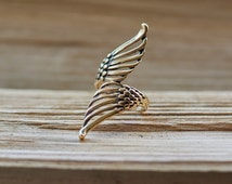 Fine bronze angel wings ring. Two twisted angel wings ring. Unique bronze womens ring. Bronze ring for woman. Handmade Baltic bronze jewelry
