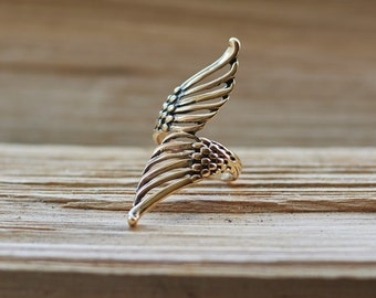 Angel Wings Ring, Angel Wing Jewelry, Feather Ring, Boho Ring, Boho Jewelry, Feather Jewery, Gold Wing Ring, Bronze Ring, Bronze Jewelry