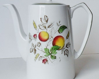 Alfred Meakin Hereford Water Jug Teapot Coffee Pot Vintage Retro Fruit & Leaves Retro Staffordshire Pottery